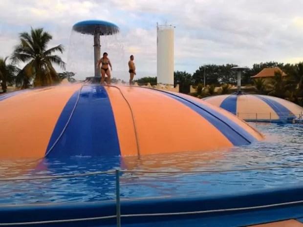Brinquedo onde o empresário se machou, conhecido como Bolha Gigante (Foto: Eduardo Ribeiro/G1)