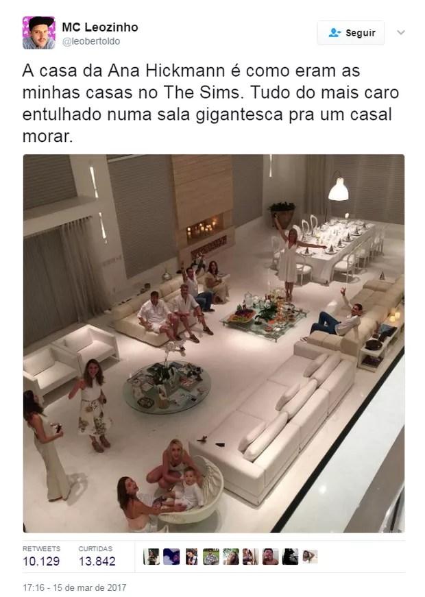 Comentários sobre a mansão de Ana Hickmann (Foto: Reprodução/Twitter)