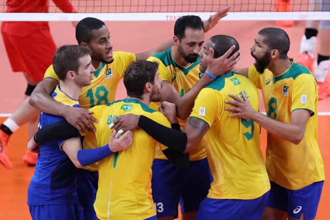 Brasil x Japão vôlei Olimpíadas de Tóquio — Foto: Toru Hanai/Getty Images