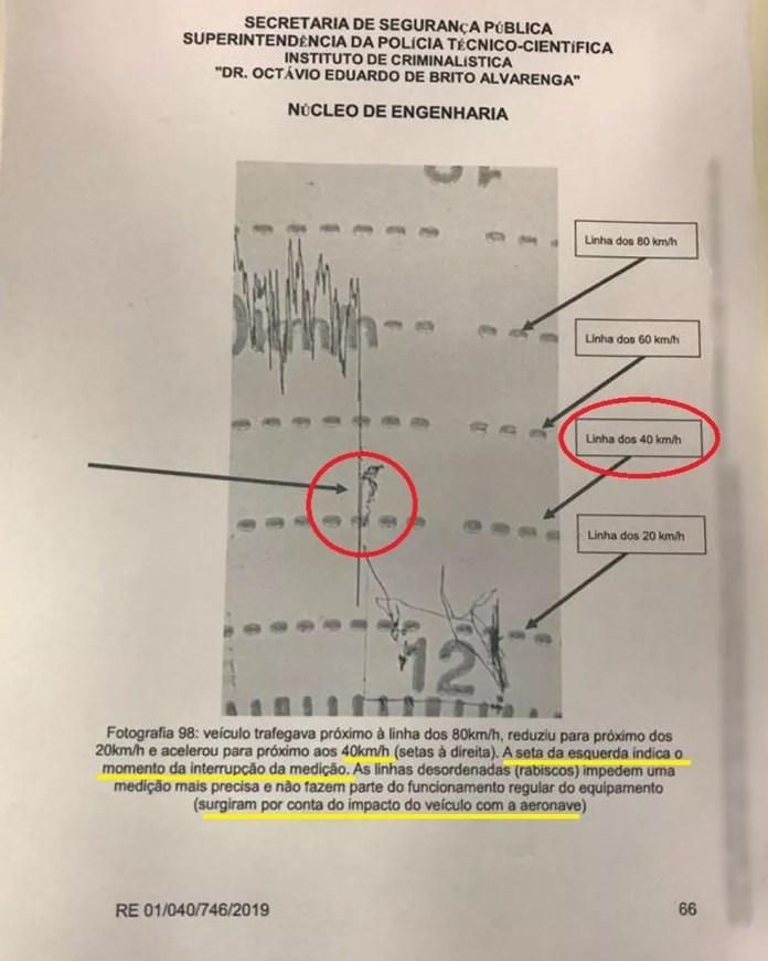 Laudo do Instituto de Criminalística (IC) da Polícia Científica informa que tacógrafo de caminhão registrou que veículo estava a 40km/h no momento da colisão com helicóptero que levava Boechat e piloto em São Paulo â?? Foto: Reprodução/Polícia Técnico-Científica