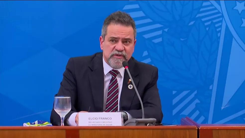 Ex-secretário-executivo do Ministério da Saúde, Élcio Franco, em imagem de janeiro — Foto: Reprodução/GloboNews