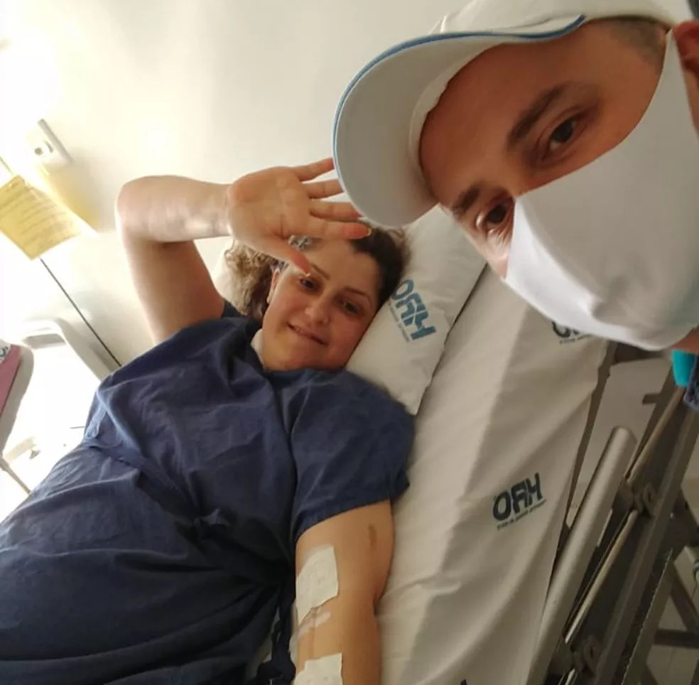 Danúbia foi levada às pressas para hospital no Oeste de SC devido a piora no quadro de Covid-19 — Foto: Danúbia Leida/Arquivo Pessoal
