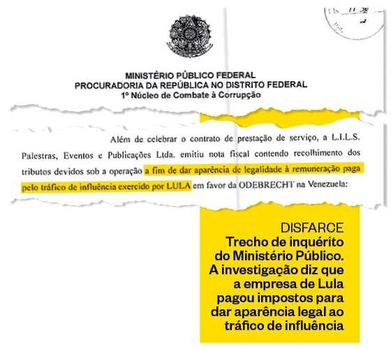 DISFARCE Trecho de inquérito  do Ministério Público. A investigação diz que a empresa de Lula pagou impostos para dar aparência legal ao tráfico de influência (Foto: Revista ÉPOCA/Reprodução)