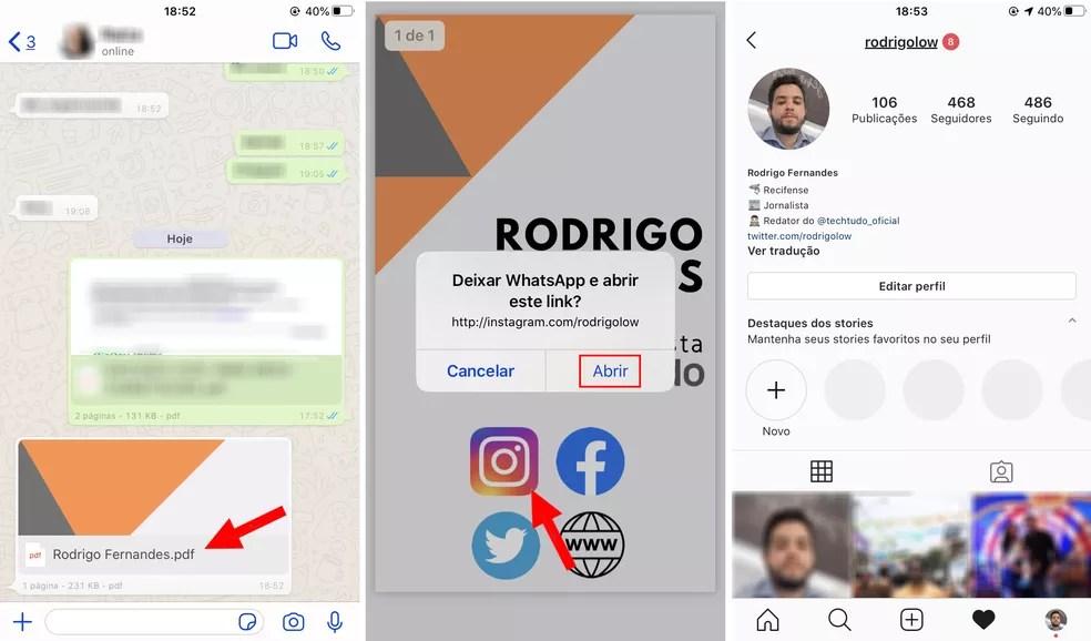 Cartão de visitas interativo abre links no celular — Foto: Reprodução/Rodrigo Fernandes
