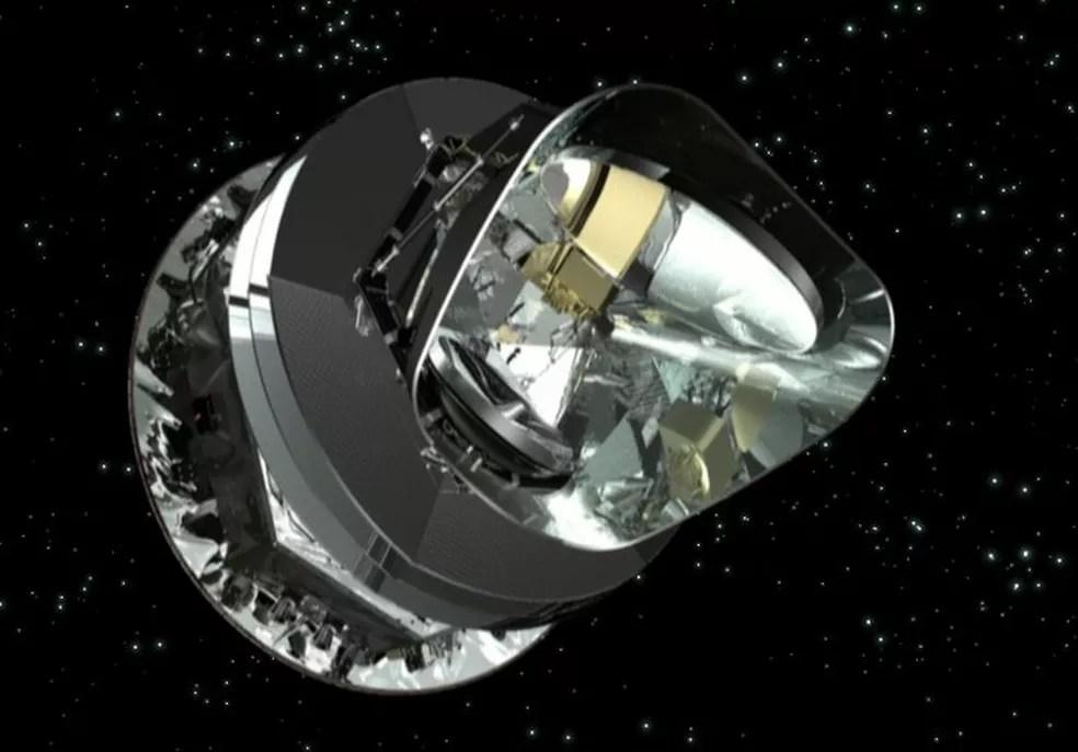 Ilustração mostra o satélite Planck em órbita no espaço — Foto: Divulgação/ESA/AOES Medialab