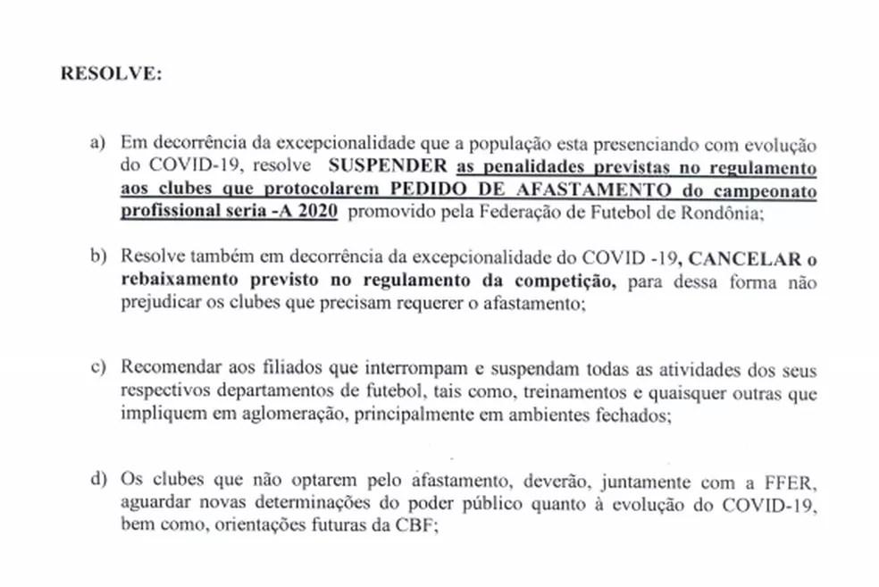 Documento divulgado pela FFER sobre o cancelamento do rebaixamento no Estadual — Foto: Divulgação