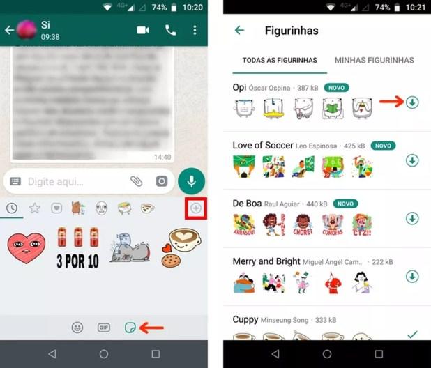 Download de pacote de figurinhas grátis na loja do WhatsApp — Foto: Reprodução/Raquel Freire