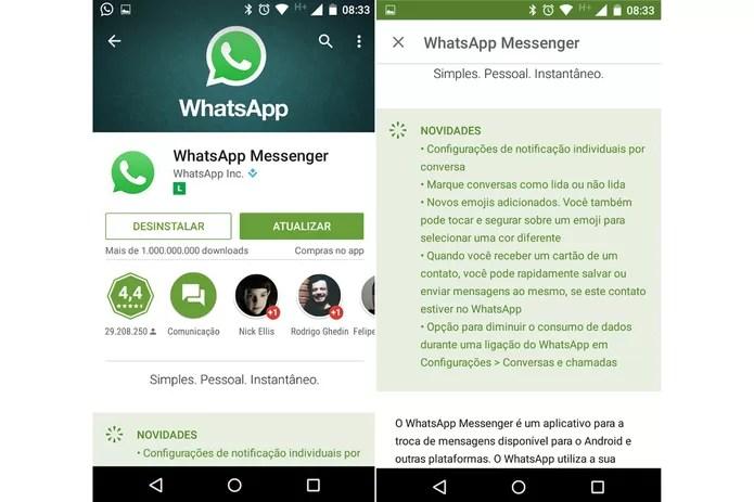 Atualização do WhatsApp agora está disponível para todos os Androids (Foto: Reprodução/Thássius Veloso)
