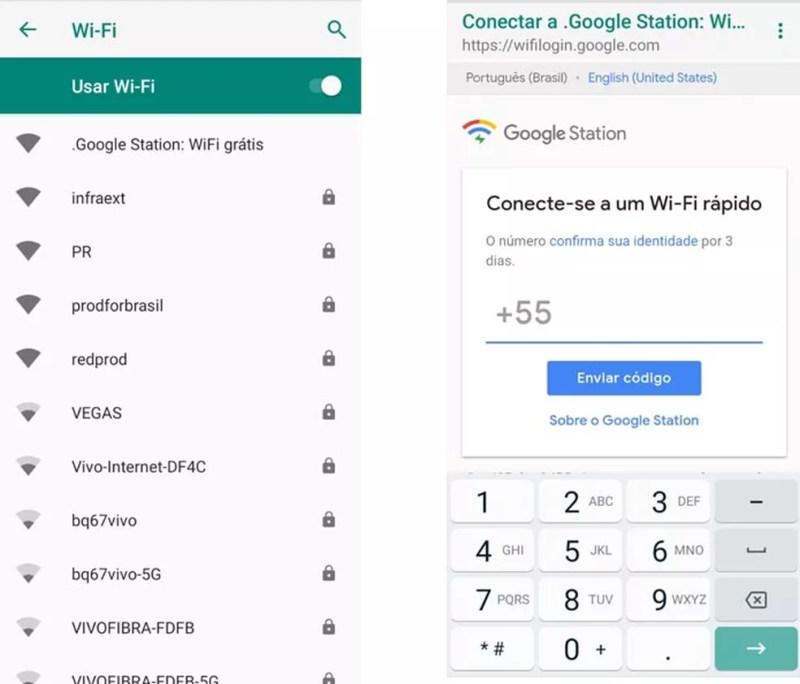 Busque por Google Station no Wi-Fi e insira número do celular — Foto: Divulgação/Google
