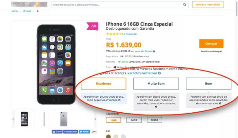 Preço depende do estado do celular; ele pode estar bom, muito bom ou excelente (Foto: Reprodução)