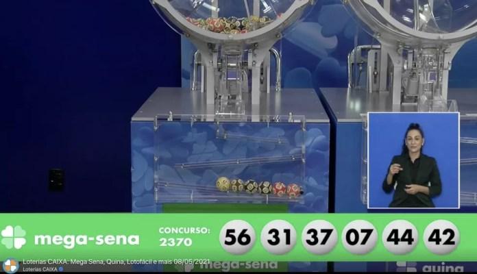 Resultado do concurso 2.370 da Mega-Sena, sorteado em 8 de maio de 2021 — Foto: Reprodução / Loterias CAIXA