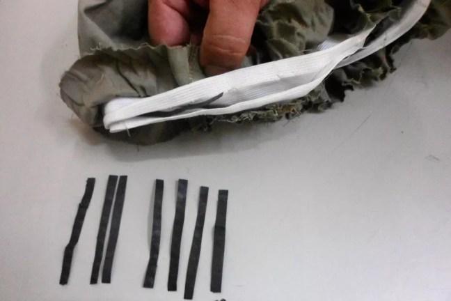 Agentes penitenciários acham droga sintética escondida na costura de bermuda enviada a preso em Mairinque — Foto: Secretaria de Administração Penitenciária/Divulgação