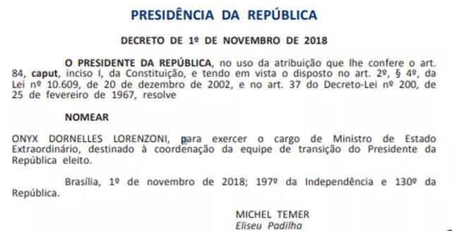Nomeação de Onyx Lorenzoni publicada no Diário Oficial — Foto: Reprodução/Diário Oficial da União
