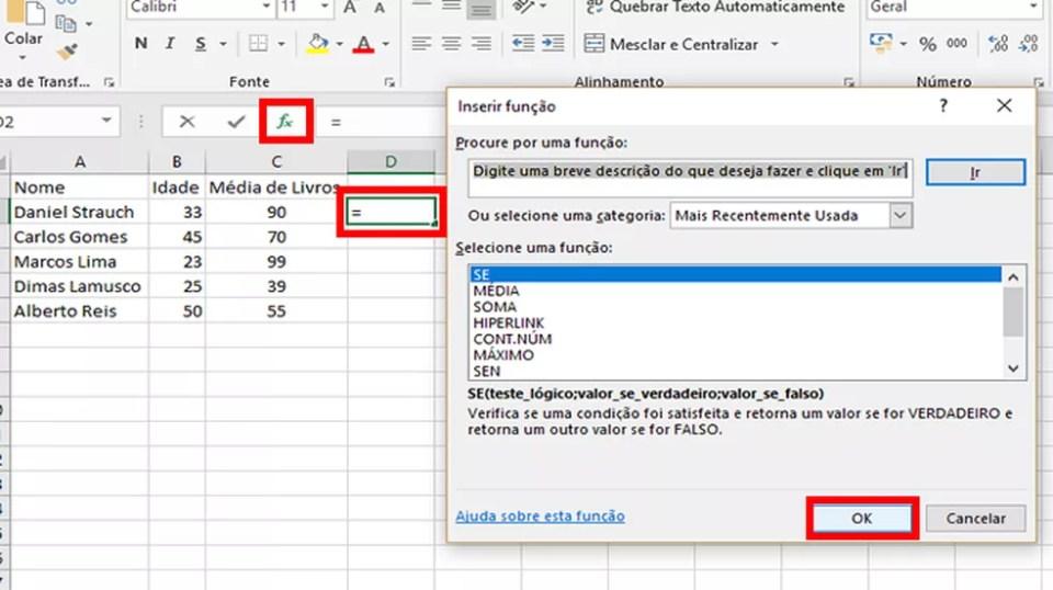 """Marque uma célula e clique no botão em destaque para escolher a função """"SE"""" pelo assistente da Microsoft (Foto: Reprodução/Daniel Ribeiro)"""