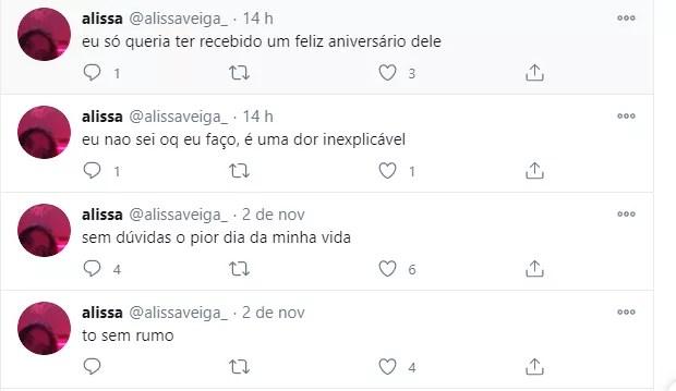 Alissa Veiga, filha de Tom Veiga, desabafa (Foto: Reprodução/Twitter)