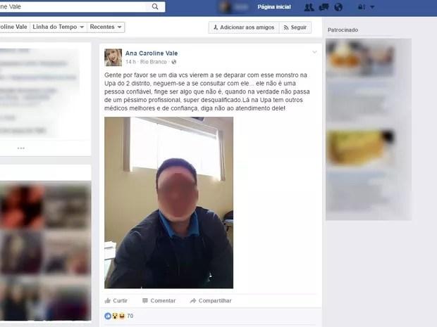 Mulher difama médico e posta foto íntima de médico em Rio Branco  (Foto: Reprodução/Facebook)