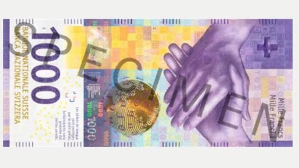 A nota de mil francos suíços é uma das mais valiosas do mundo — Foto: SNB Archive