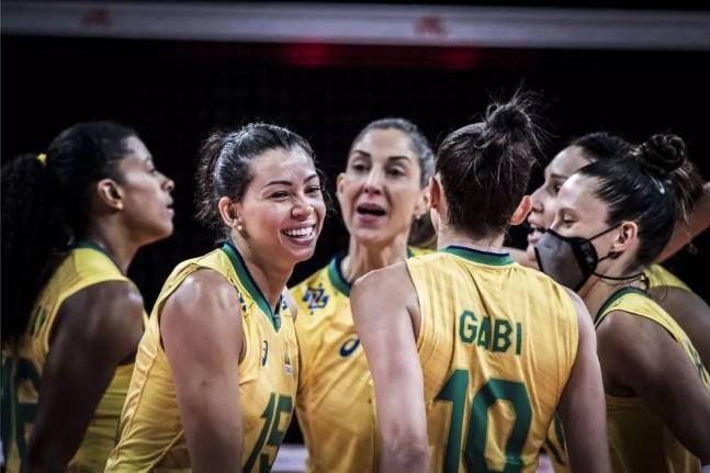 Brasil comemora mais uma vitória na Liga das Nações — Foto: Divulgação