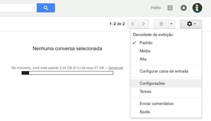 Acesse as configurações do Gmail (Foto: Reprodução/Helito Bijora)