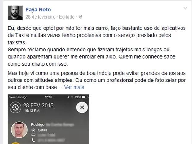 Fotógrafo postou no Facebook história com nome e telefone do taxista, para promover a boa ação (Foto: Reprodução / Facebook)