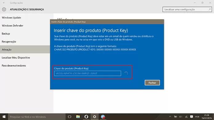 Usuário deve inserir chave fornecida pela Microsoft para fazer o upgrade (Foto: Reprodução/Elson de Souza)