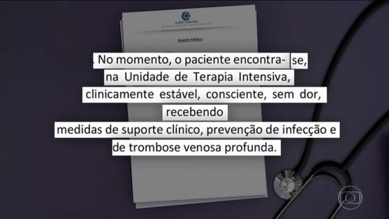 Quadro de Bolsonaro é estável após 7 horas de cirurgia, diz boletim médico — Foto: Reprodução/JN