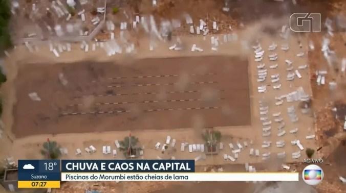 Temporal enche de lama as piscinas do Morumbi, sede social do São Paulo — Foto: Reprodução / TV Globo