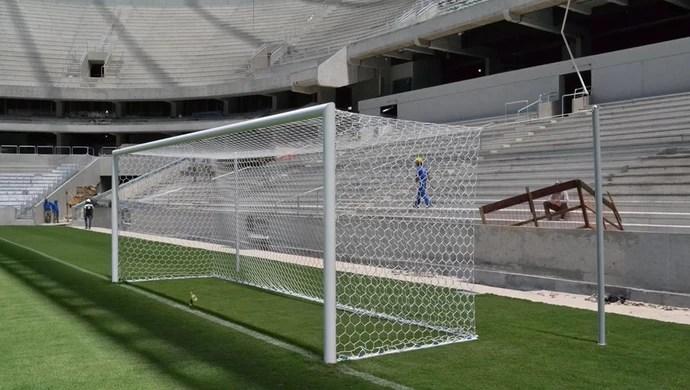 Trave da Arena da Baixada, estádio do Atlético-PR (Foto: Site oficial do Atlético-PR/Divulgação)
