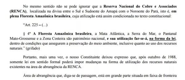 Trecho de decisão da Justiça do DF que impede imediata exploração de recursos do Renca (Foto: Reprodução)