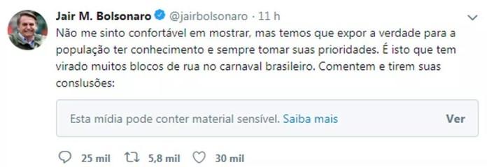 Tuíte do presidente Jair Bolsonaro sobre os blocos de rua do carnaval — Foto: Reprodução/Twitter