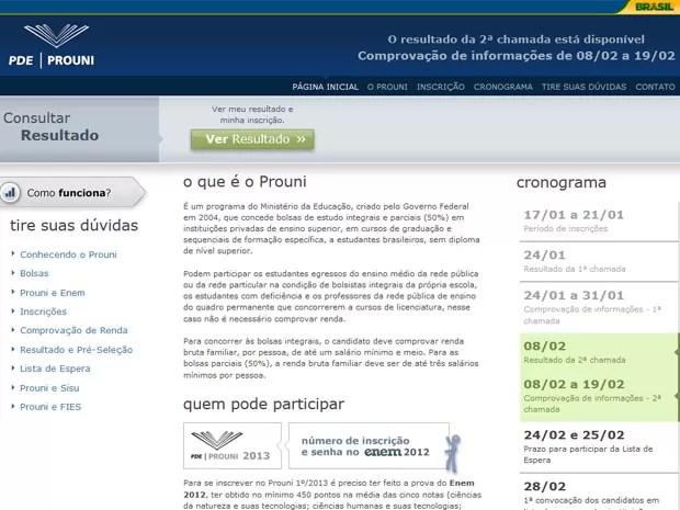 Site do Prouni traz link de acesso à consulta ao resultado da segunda chamada (Foto: Reprodução)