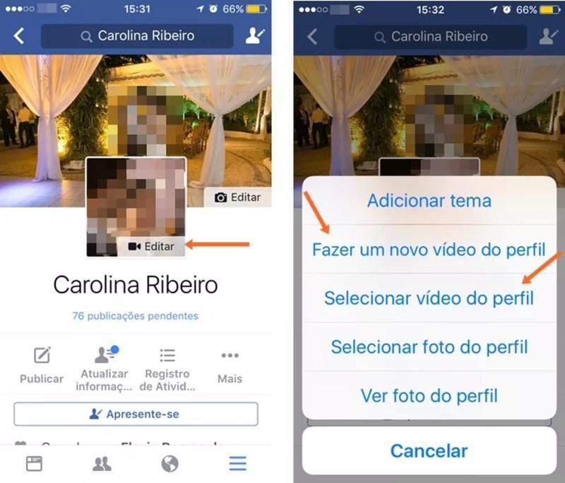 Entre no Facebook e selecione a opão de adicionar um vídeo na foto de perfil (Foto: Carolina Ribeiro)