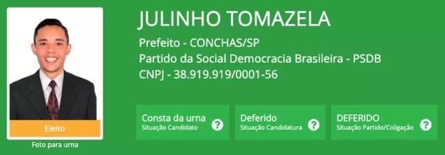 Julinho Tomazela (PSDB), eleito com 37,54% em Conchas (SP), um dos mais jovens prefeitos do Brasil — Foto: Reprodução