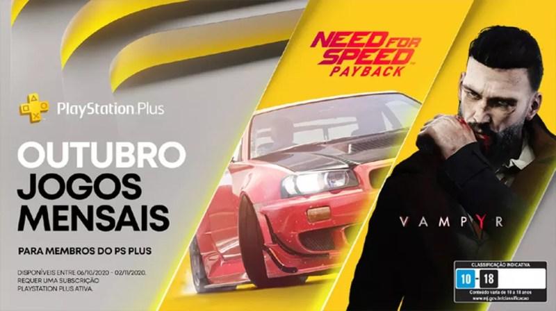 Need for Speed: Payback e Vampyr serão os jogos grátis do PlayStation 4 (PS4) em outubro para assinantes da PS Plus — Foto: Reprodução/PlayStation Blog