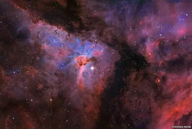 Esta imagem da Nebulosa de Eta Carinae, que fica a cerca de 7,5 mil anos-luz do Sol, foi feita por Stephen Mohr (Foto: Stephen Mohr)
