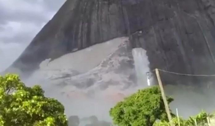 Vídeo mostra montanha após queda de rocha  — Foto: Reprodução/TV Santa Cruz
