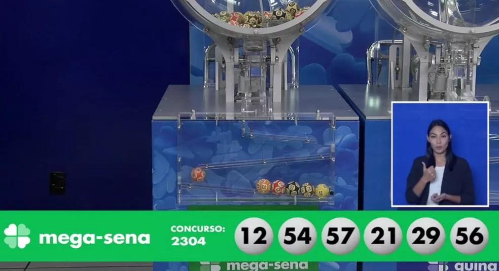 Números sorteados da Mega-Sena nesta quarta-feira — Foto: Reprodução/Caixa
