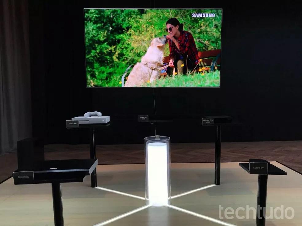 Controle remoto único consegue operar dispositivos como leitor de Blu-ray, Apple TV, Xbox One e decodificador da TV por assinatura (Foto: Thássius Veloso/TechTudo)