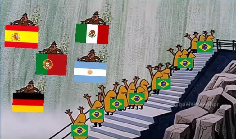 Brasil 2 x 0 México: meme do Pica-Pau nas Cataratas. (Foto: Reprodução)