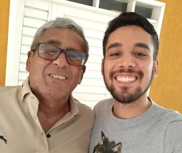 Nathan Ravi e o pai Honorato Sobrinho — Foto: Arquivo pessoal