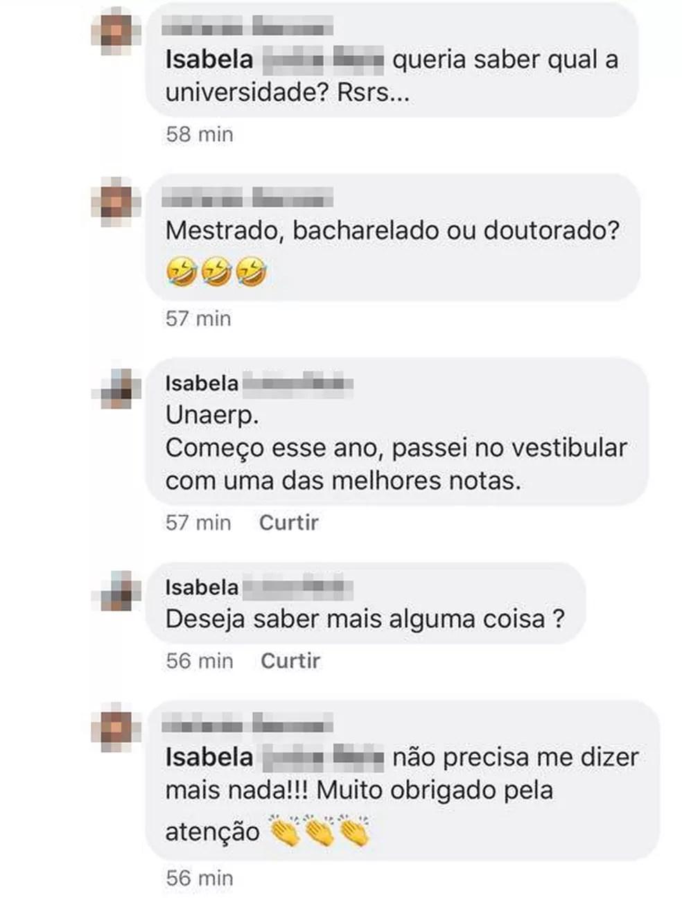 Homem debochou de escolaridade de jovem de Guarujá, SP — Foto: Reprodução/Facebook