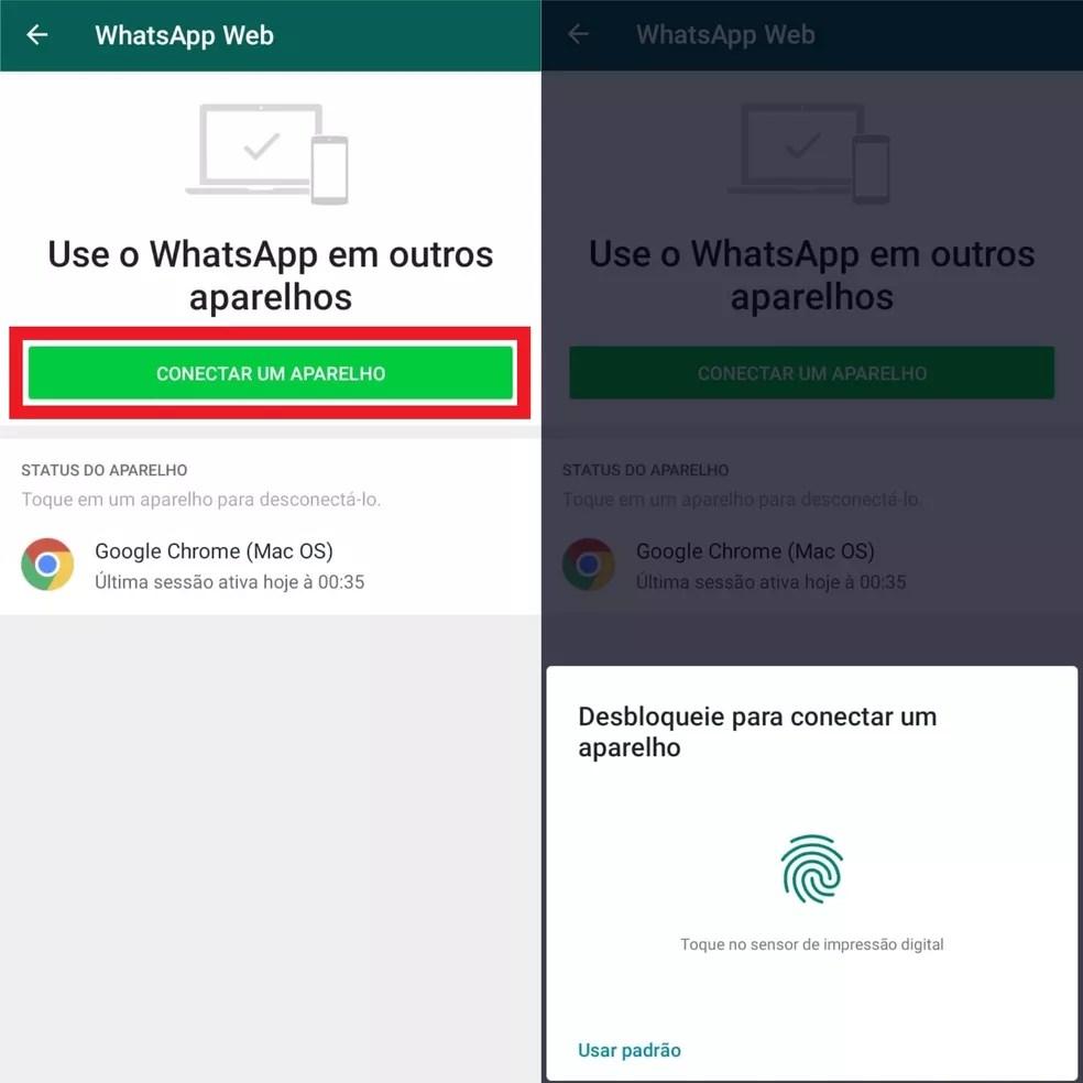 Conectando um novo aparelho e desbloqueando no celular para scanear o QR Code do WhatsApp Web — Foto: Reprodução/Clara Fabro