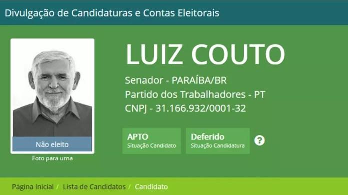 Luiz Couto foi candidato ao senado pelo PT e ficou em terceiro lugar na votação das Eleições 2018 — Foto: Reprodução