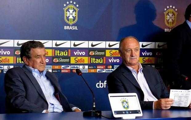 Luiz Felipe Scolari felipão e carlos alberto Parreira brasil coletiva  (Foto: Marcelo Baltar)