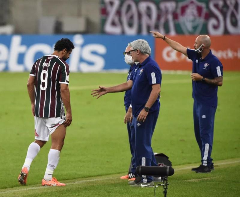 Fred sai machucado em Fluminense x Palmeiras — Foto: André Durão