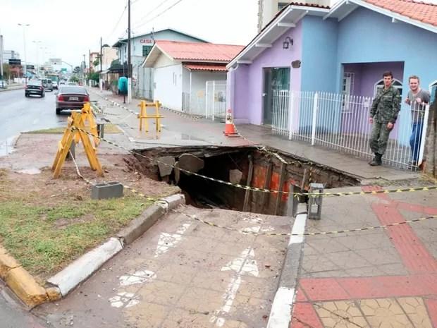 De acordo com a Defesa Civil, local não oferece mais riscos (Foto: Ary Barbosa/Prefeitura de Lages)