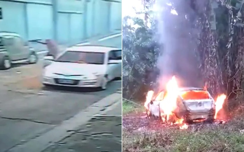Polícia encontrou carro queimado com as mesmas caracterísicas do veículo usado no crime contra PM da Rota — Foto: Reprodução/Redes sociais
