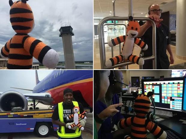 """O tigre de pelúcia Hobbes durante seu """"tour"""" pelo Aeroporto Internacional de Tampa, na Flórida; bichinho foi levado para passear pelos funcionários até que seu dono, um garoto de 6 anos, voltasse para buscá-lo (Foto: Reprodução/Facebook/Tampa Internacional Airport)"""