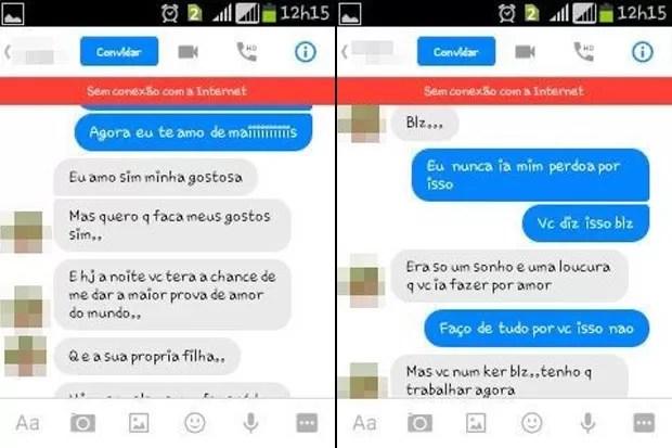 Troca de mensagens mostra homem pedindo para tirar a virgindade da filha de sua companheira (Foto: Reprodução)