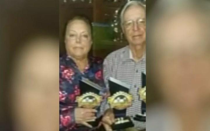 Leandro Canedo dos Santos e a esposa, Darci Prado Canedo, foram mortos em fazenda de Campo Limpo de Goiás — Foto: Reprodução/TV Anhanguera